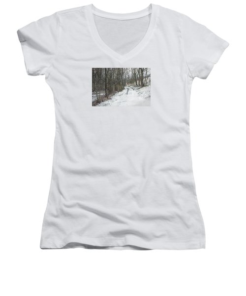 Where The Road May Take You Women's V-Neck T-Shirt (Junior Cut) by Photographic Arts And Design Studio