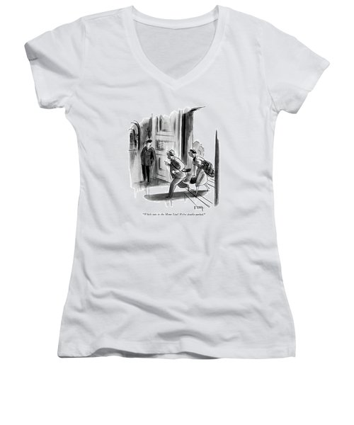 Which Way To The Mona Lisa? We're Double-parked Women's V-Neck T-Shirt (Junior Cut)