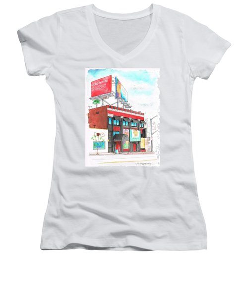 Whisky-a-go-go In West Hollywood - California Women's V-Neck T-Shirt (Junior Cut) by Carlos G Groppa