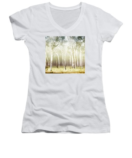 Whisper The Trees Women's V-Neck T-Shirt (Junior Cut) by Holly Kempe