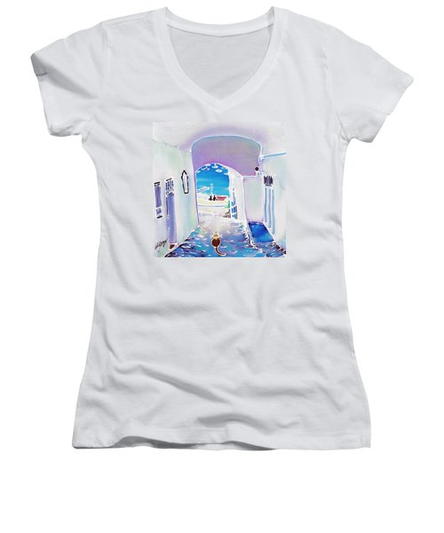White And Blue 1 Women's V-Neck