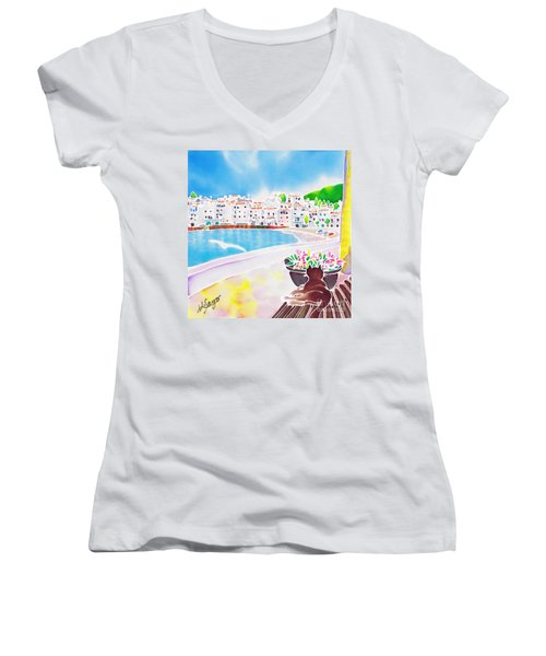 White And Blue 2 Women's V-Neck