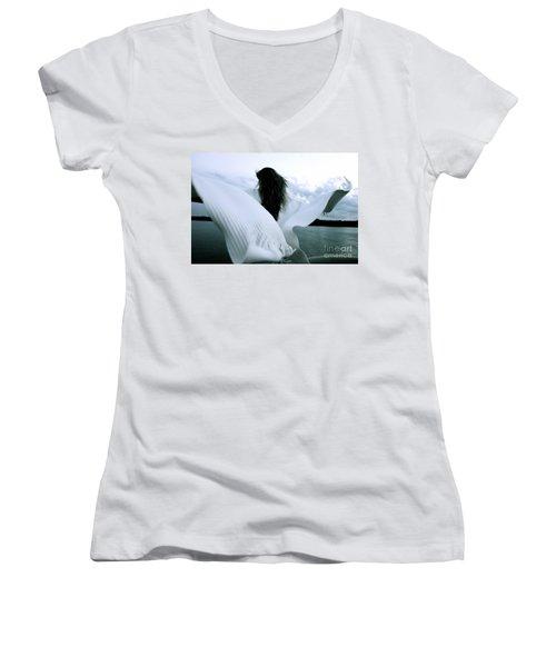 White Angel Women's V-Neck T-Shirt