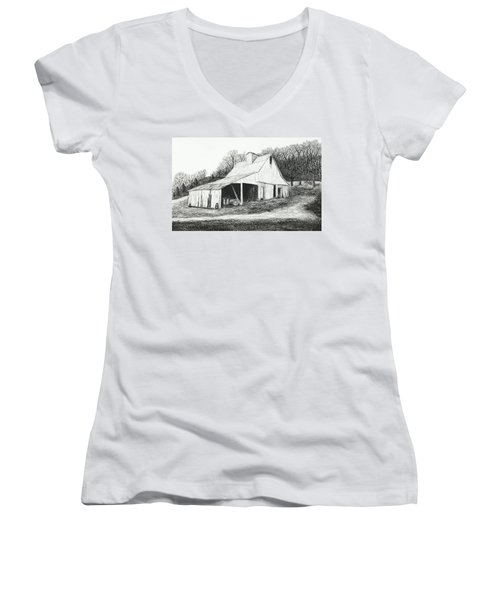 White Barn On Bluff Road Women's V-Neck (Athletic Fit)