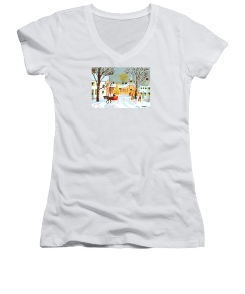 Women's V-Neck T-Shirt (Junior Cut) featuring the painting White Christmas by Magdalena Frohnsdorff