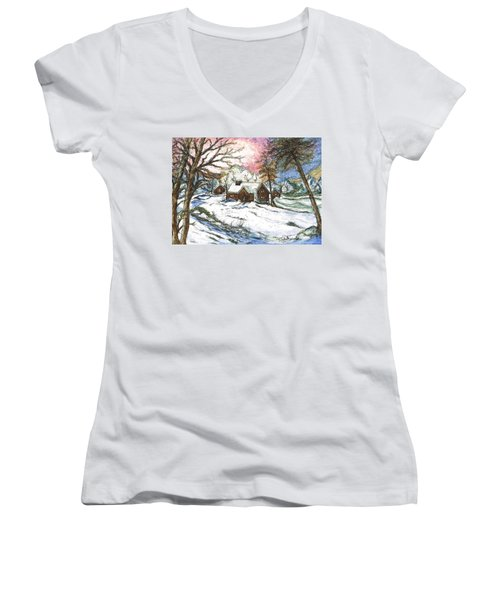 White Christmas Women's V-Neck T-Shirt