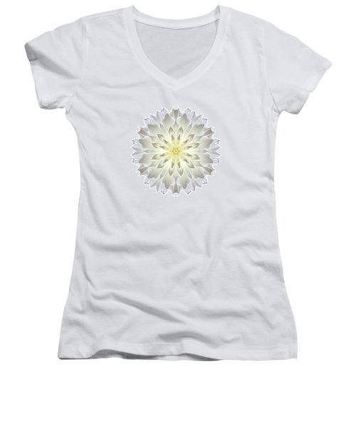 Giant White Dahlia I Flower Mandala White Women's V-Neck (Athletic Fit)