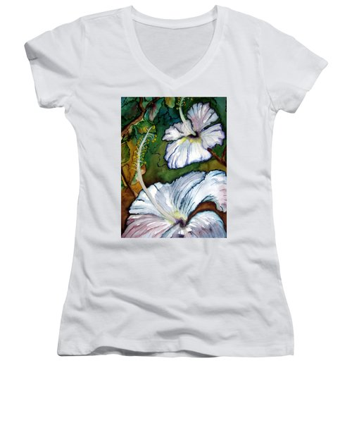 Women's V-Neck T-Shirt (Junior Cut) featuring the painting White Hibiscus by Lil Taylor