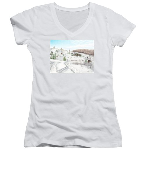 Women's V-Neck T-Shirt (Junior Cut) featuring the painting White Mountain Resort by Albert Puskaric