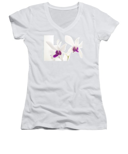 White Orchids Women's V-Neck T-Shirt (Junior Cut) by Bradley R Youngberg