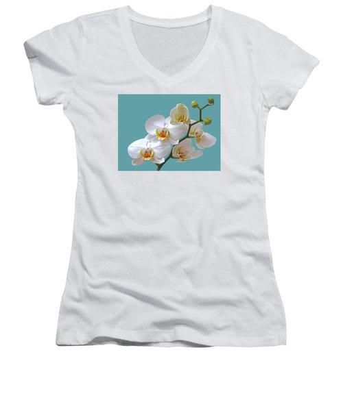White Orchids On Ocean Blue Women's V-Neck T-Shirt
