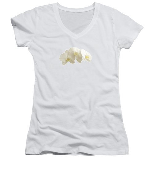 White Orchids On White Women's V-Neck (Athletic Fit)