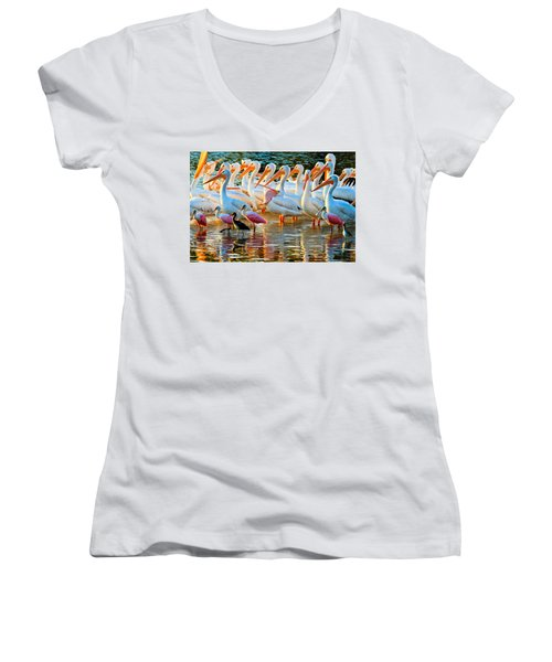 White Pelicans Women's V-Neck