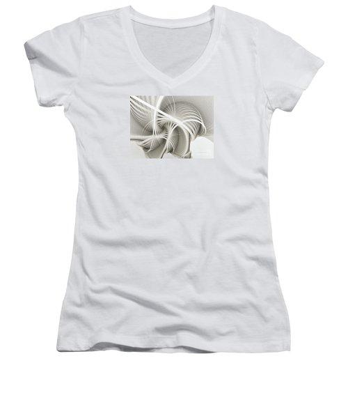 White Ribbons Spiral Women's V-Neck T-Shirt (Junior Cut) by Karin Kuhlmann