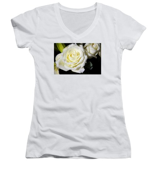 White Rose Women's V-Neck T-Shirt (Junior Cut) by Dave Files