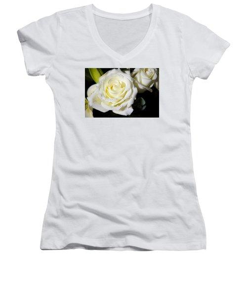 White Rose Women's V-Neck (Athletic Fit)