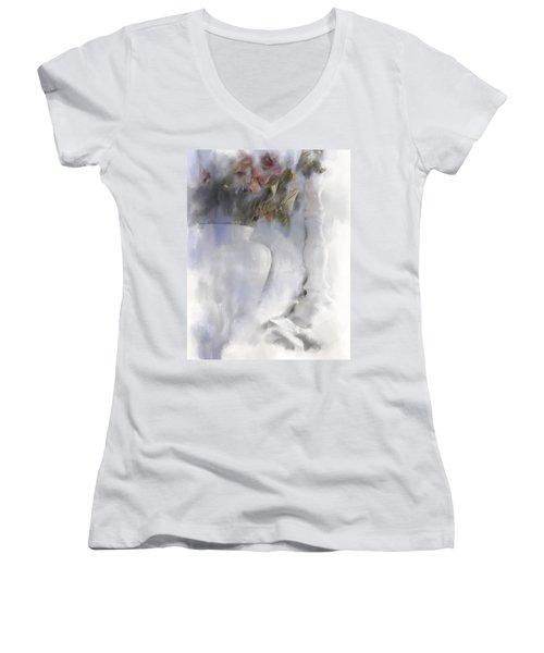 White Still Life Vase And Candlestick Women's V-Neck