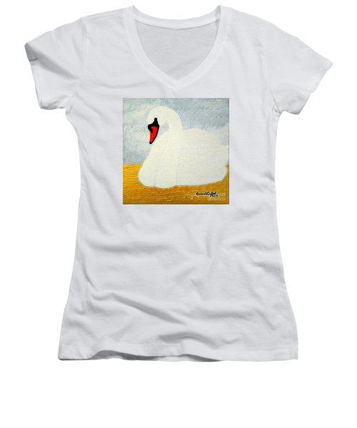 White Swan Lake Women's V-Neck T-Shirt (Junior Cut) by Richard W Linford