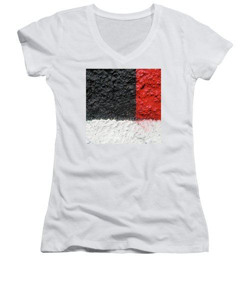 White Versus Black Over Red Women's V-Neck T-Shirt