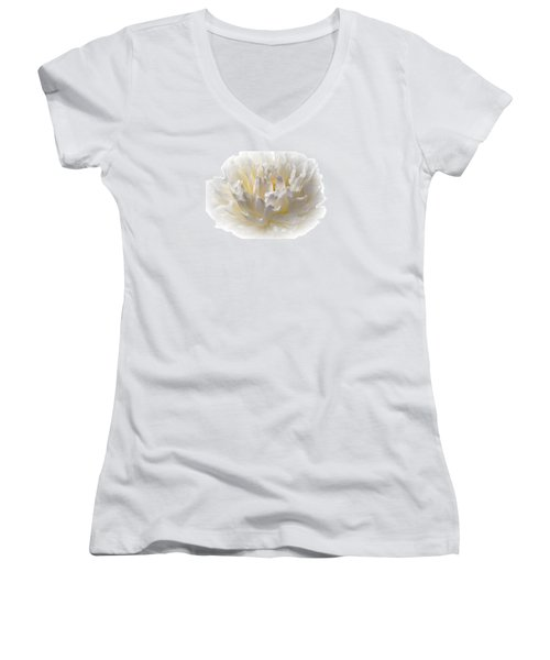 White Peony With A Dash Of Yellow Women's V-Neck T-Shirt (Junior Cut) by Sherman Perry