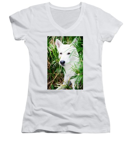 Women's V-Neck T-Shirt (Junior Cut) featuring the photograph White Wolf by Erika Weber