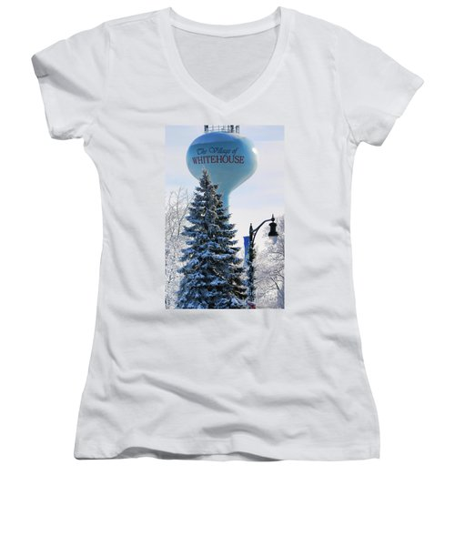 Whitehouse Water Tower  7361 Women's V-Neck T-Shirt
