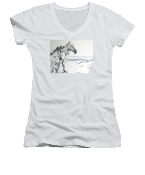 Wild Horses Drawing Women's V-Neck T-Shirt