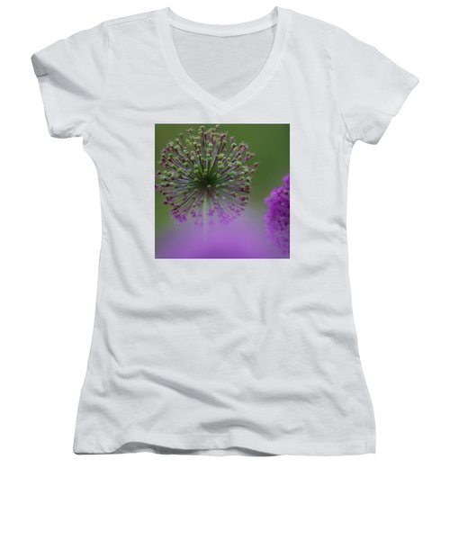 Women's V-Neck featuring the photograph Wild Onion by Heiko Koehrer-Wagner