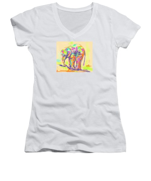 Wildlife Baby Elephant Women's V-Neck T-Shirt (Junior Cut) by Go Van Kampen