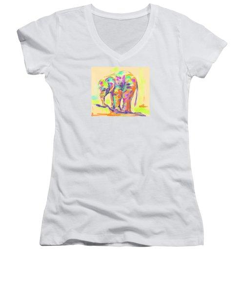 Wildlife Baby Elephant Women's V-Neck