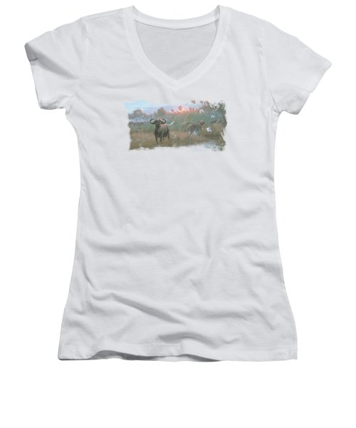Wildlife - Cape Buffalo Women's V-Neck T-Shirt (Junior Cut) by Brand A