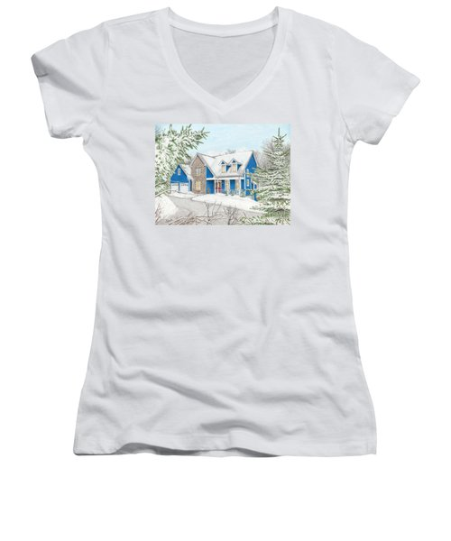 Women's V-Neck T-Shirt (Junior Cut) featuring the painting Wiley House by Albert Puskaric