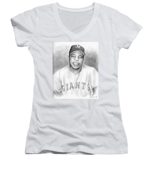 Willie Mays Women's V-Neck T-Shirt (Junior Cut) by Greg Joens