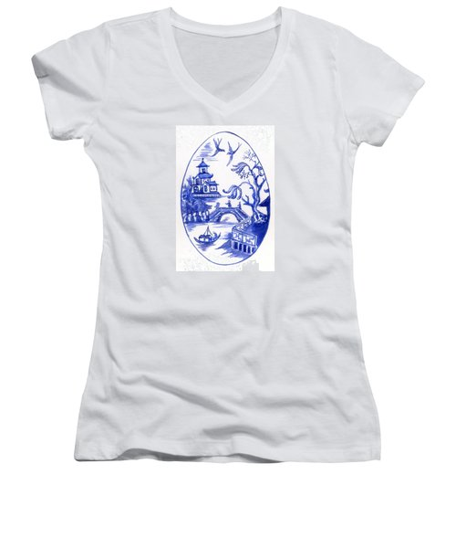 Willow Pattern Egg II Women's V-Neck (Athletic Fit)