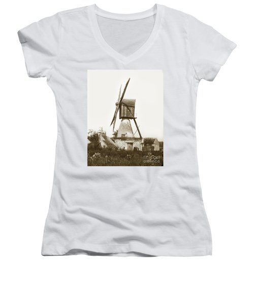 Women's V-Neck T-Shirt (Junior Cut) featuring the photograph Wind Mill In France 1900 Historical Photo by California Views Mr Pat Hathaway Archives