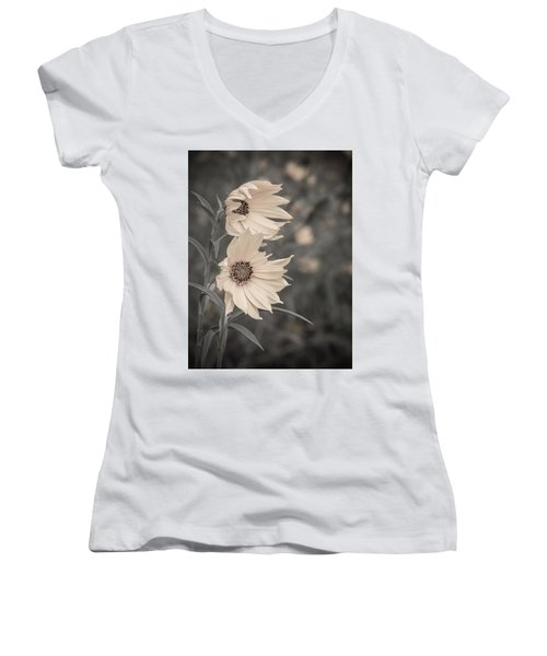 Windblown Wild Sunflowers Women's V-Neck T-Shirt (Junior Cut) by Patti Deters