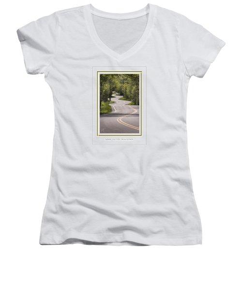 Winding Road Door County Women's V-Neck T-Shirt (Junior Cut) by Barbara Smith