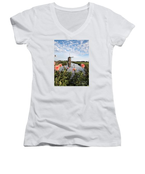 Windmill Landscape In Holland Women's V-Neck T-Shirt (Junior Cut) by IPics Photography