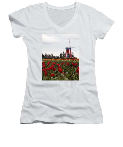 Windmill Red Tulips Women's V-Neck T-Shirt (Junior Cut) by Athena Mckinzie