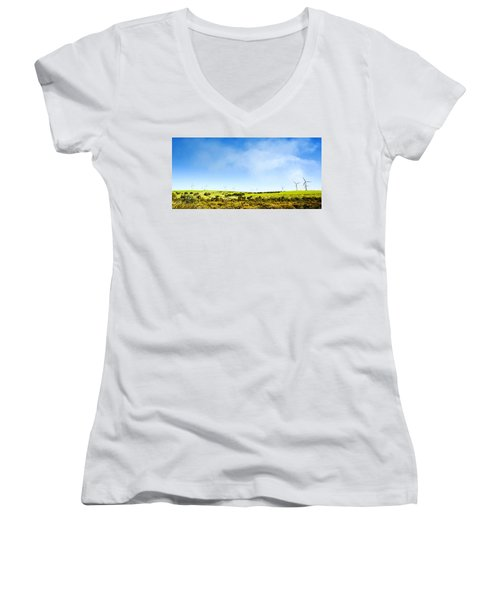 Women's V-Neck T-Shirt (Junior Cut) featuring the photograph Windmill by Yew Kwang