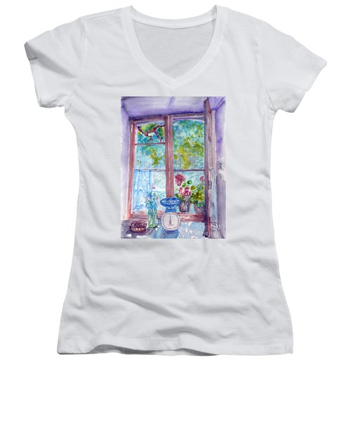 Women's V-Neck T-Shirt (Junior Cut) featuring the painting Window by Jasna Dragun