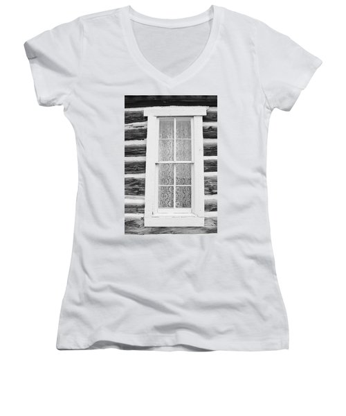 Women's V-Neck T-Shirt (Junior Cut) featuring the photograph Window To The Old West by Diane Alexander