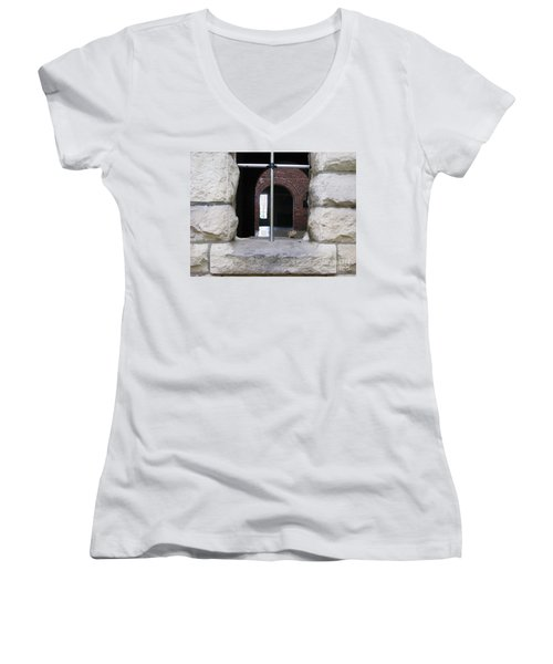 Window Watcher Women's V-Neck T-Shirt (Junior Cut) by Michael Krek