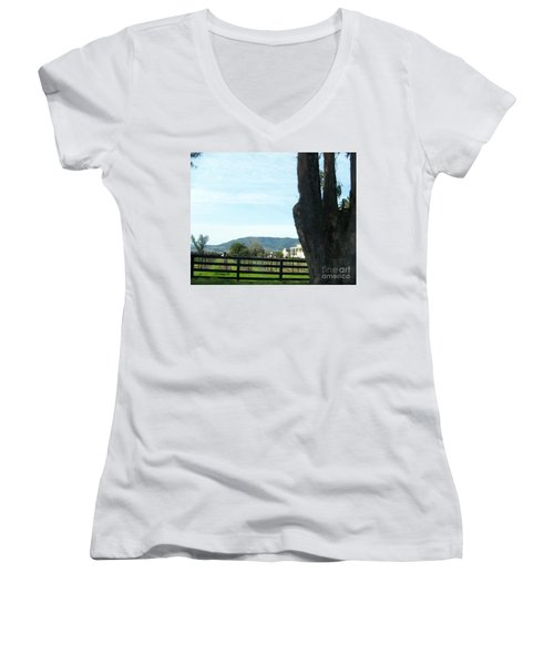 Women's V-Neck T-Shirt (Junior Cut) featuring the photograph Winery by Bobbee Rickard