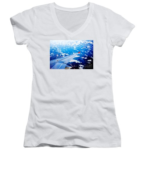 Wings And Clouds Women's V-Neck (Athletic Fit)
