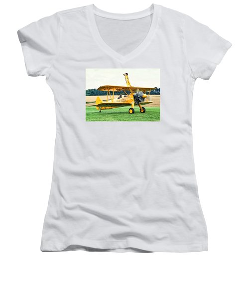 Wingwalking Women's V-Neck (Athletic Fit)