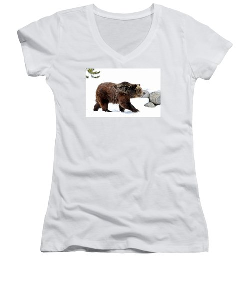 Winter Bear Walk Women's V-Neck T-Shirt (Junior Cut) by Athena Mckinzie