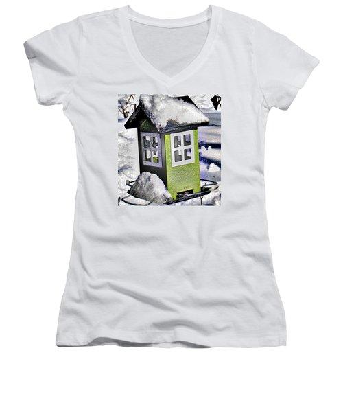 Women's V-Neck T-Shirt (Junior Cut) featuring the photograph Winter Birdfeeder by Nina Silver