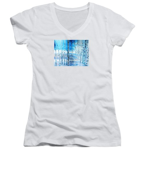 Winter Blues Women's V-Neck T-Shirt