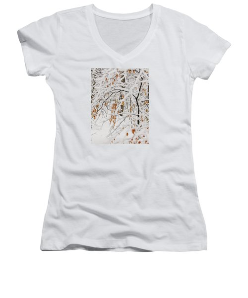 Women's V-Neck T-Shirt (Junior Cut) featuring the photograph Winter Branches by Ann Horn